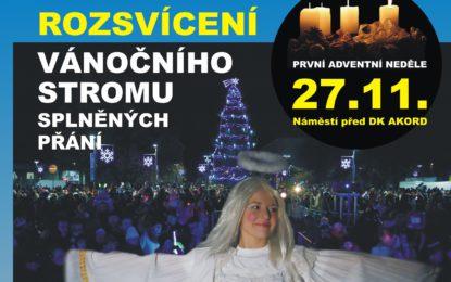 Rozsvícení stromu splněných přání i vánoční jarmark tuto neděli!
